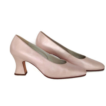 Vintage 1980's Ladies Pump-Enzo Angiolini-Opalescent Pink Leather-High Heel-Brazil- 9 1/2M-Ladies Shoes-Wedding-Pearlized-Chunky Heels-