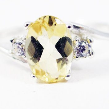 Citrine Oval and White CZ Accent Ring Sterling Silver, November Birthstone Ring, Citrine Oval Ring, Oval Accent Ring, Golden Citrine Ring