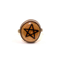 Star Ring, Wood Slice Ring, Wooden Ring, Wooden Star Ring, 5-Pointed Star, Tree Slice Ring