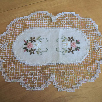 Vintage Floral Satin Ribbon Embroidered Doily - Beige Off White - Brown Peach Pink Green Flowers - Embroidered Handmade Lace Edge