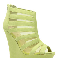 Lime Mesh Summer Party Peep Toe Wedges