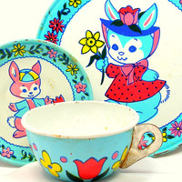 Spring Bunnies Tin Toy Tea Setting, 3 piece set.