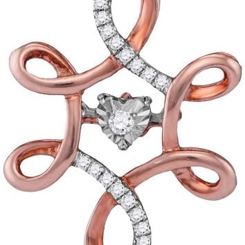 10kt Rose Gold Womens Round Diamond Moving Twinkle Solitaire Pendant 1/8 Cttw