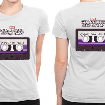 Marvel Guardians Of The Galaxy Cosmic Mix Cassette B 2 Sided Womens T Shirt