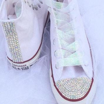 ICIKGQ8 rhinestone and glitter converse bride wedding quiceanera bat mitzvah prom shoes
