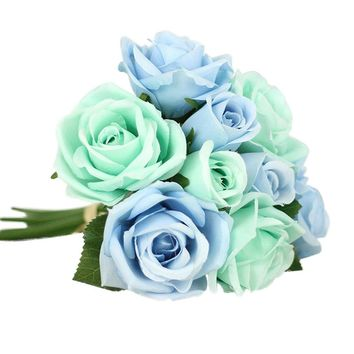 2017 New Pretty Charming Lovely Cute Artificial Rose Flower Beautiful Wedding Bridal Bouquet Home Decorative Rose Flower Bouquet