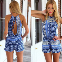 Rompers Womens Beach Jumpsuit 2016 Summer Sexy Sleeveless Halter Keyhole Back Floral Jumpsuits Chiffon Overalls slim Playsuits