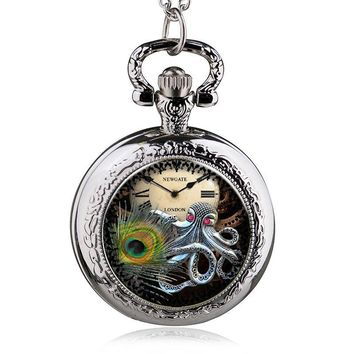 New Fashion Silver Handsome Steam Octopus Case Quartz Pocket Watch Analog Pendant Necklace Mens Womens Gifts