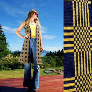 1960's Merino Wool Sweater Vest, Navy Blue and Yellow Knit Vest, Womens Long Vest, Checkered Jacket, Striped Vest, 60s Mod, Wool Duster Coat