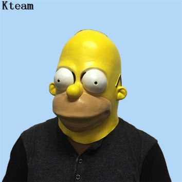 Top Grade 100% Latex Movie Simpson Masks Halloween Adult Latex Clown Mask Cartoons Characters Cosplay Props Party Fancy Dress