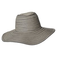 Striped Floppy Hat - Black/Natural