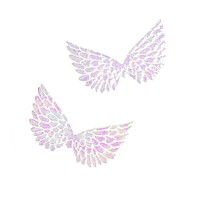 Holographic Embossed Angel Wing Party Favor Embellishments, 1-1/2-Inch, 6-Count, White