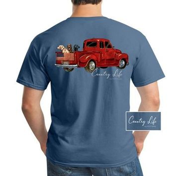 Country Life USA Dog Truck Indigo Unisex T-Shirt