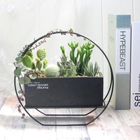 1 Set Cement Succulent Planter Pot Geometric Flower Pot Decorative Bonsai Cactus Planter with Iron Stand (1 Pot + 1 Stand)