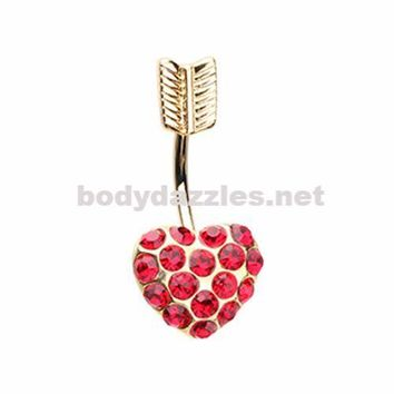 Golden Red Heart Belly Button Ring 14ga Navel Ring Surgical Steel Body Jewelry