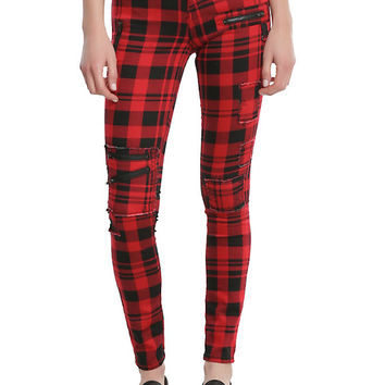 Blackheart Red & Black Plaid Super Skinny Pants