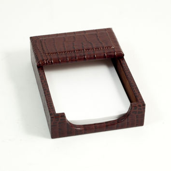 "Memo Holder, Brown ""Croco"" Leather"