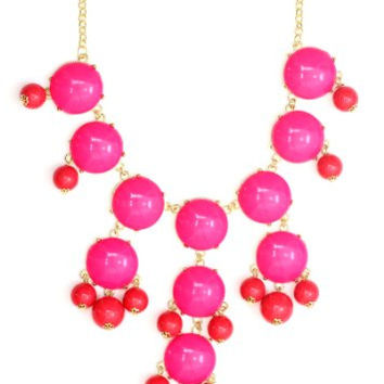 Bubble Bib Necklace Neon Pink Beaded Bauble NG56 Gold Tone Luxury Large Statement Fashion Jewelry