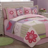 Pink Butterfly Flower Quilt with Pillow Sham