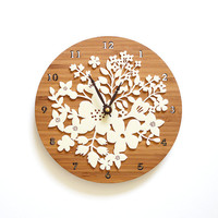 Bamboo Bouquet Flower Wall Clock