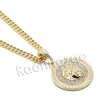 "Mens Iced Out Brass Gold Medusa Charm Pendant w/ 5mm 24"" 30"" Cuban Chain A07G"
