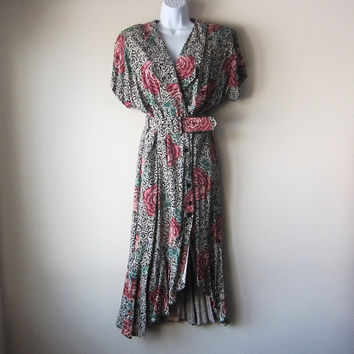 80s Floral Dress w Asymmetrical Ruffle Hem & Belt // Avant Garde Funky Grunge Fashion