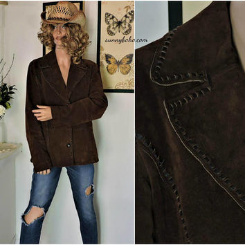 Retro Wilsons leather / suede jacket / size M / L / brown leather blazer / jacket / country western / hippie / boho / rocker / leather coat