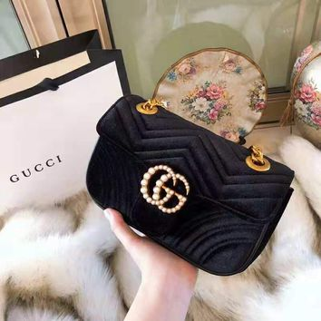 GUCCI Marmont 2018 new wave pattern women's pearl double G flip chain bag Messenger bag