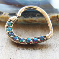 Opal daith heart earring 16g cartilage ring blue opals silver 316L stainless steel annealed seam rings easy bend ear piercing body jewelry