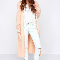 Living For Leisure Peach Cardigan Sweater