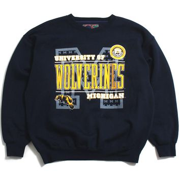 University of Michigan Wolverines Bar Text Galt Sport Crewneck Sweatshirt Navy (XL)