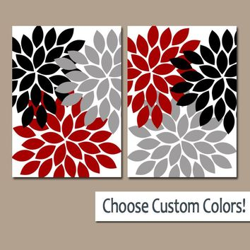Flower Wall  Art, Gray Red Black Bedroom Canvas or Prints, Red Black Bathroom Decor, Red Black Flower Burst Petals Art, Set of 2 Artwork