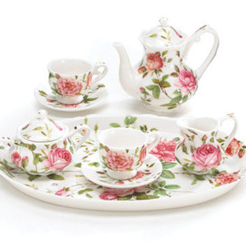 Saddlebrooke Pink Roses Girl's Miniature Tea Set
