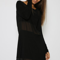 Toby Heart Ginger - Sheer Panel Long Sleeve Dress - Black