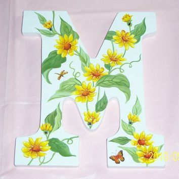 Yellow vine wooden M initial swarovski by MoanasUniqueDesigns