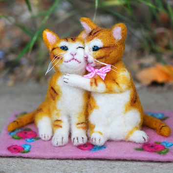 Needle Felted Cat Couple, Felt Cat, Cat Lover Gift, Cat Sculpture, Felt Animals, Wool Cats, Gift Idea, Wedding, Anniversary, Romantic, Sweet