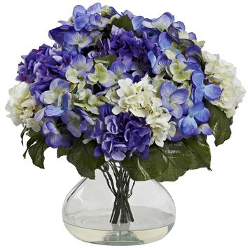 Artificial Flowers -Hydrangea With Large Vase Silk Flowers