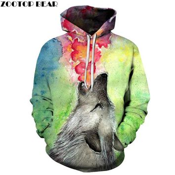 Watercolor Wolf Hoodies 3d Brand Sweatshirts Men Hot Hooded Tracksuits 6XL Autumn Winter Jackets Men Novelty Streetwear Coats