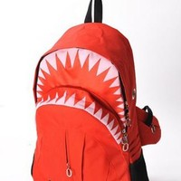 Fashion Personality Red shark backpack