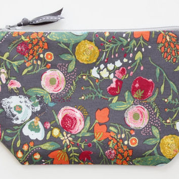 Floral Gem Zipper Clutch, Gray Floral Pouch, Purse, Organizer, Travel Bag, Zipper Pouch