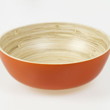 Coiled bamboo footed snack bowls, orange