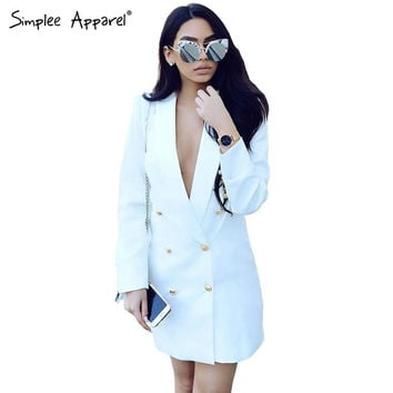 Simplee Apparel Autumn chic white long suit blazer Women double breasted ladies blazers 2016 winter coat jacket office outwear