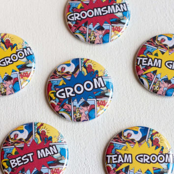 Geek Bachelor Party, Nerd Wedding Pins, Team Groom, Comic Book Buttons, Superhero Groom, Geeky Wedding, Stag Night Badges, Wedding Name Pins