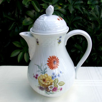 Porcelain Coffee Pot Hutschenreuther Dresden Konigstein Multi Color Floral Coffee Pot