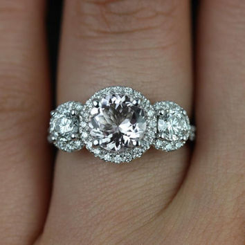 Dita 14kt White Gold Round Morganite and Diamonds 3 Stone Engagement Ring (Other metals and stone options available)