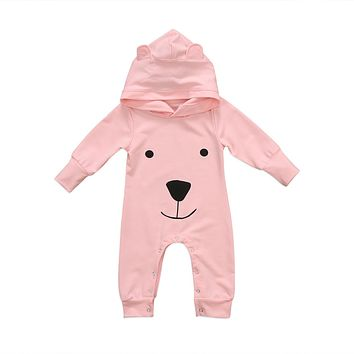 Baby Clothing Cute Toddler Infant Boys Girls Clothes Long Sleeve Bear Hooded Romper Jumpsuit Outfits