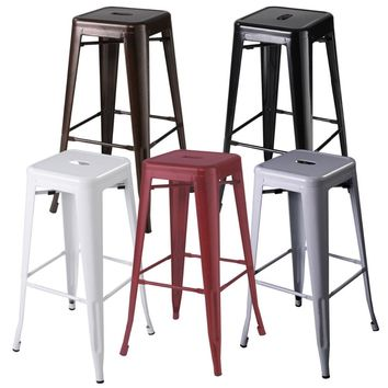 Set of 2 Metal Steel Bar Stools Vintage Antique Style Counter Bar Stool 5 Color HW50186