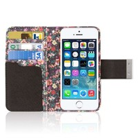 iPhone 5S Wallet Case, EMPIRE KLIX Klutch Designer Wallet [4 Slots] Inner Hard Polycarbonate Felt Lining Case for iPhone 5 with Magnetic Flap & Hand Strap [Perfect Fit & Precise Port] - Vintage Floral