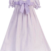 Lilac & White Striped Cotton Seersucker Spring Dress with Poly Silk Trim (Baby Girls 3 - 24 months )