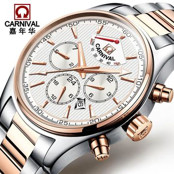 Luxury Watch Top brand CARNIVAL Multi feature Auto mechanical Watches Men Watch 2017 Week Month 24hours Calendar Energy Display